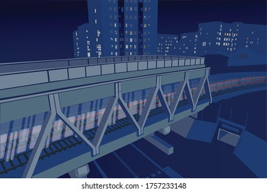 Illustration of a subway passing a bridge with buildings in the background