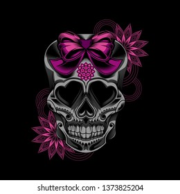 Illustration of sugar skull  lady vector illustration art flower on dark background with ribbon - design for t-shirt and other - vector.