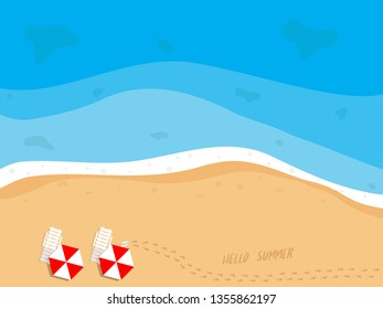illustration of summer beach top view with beach chairs, umbrella, slippers and footprints on sand vector background
