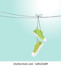 Illustration of a summer blue sky and sneakers hanging on wires. Vector illustration EPS10