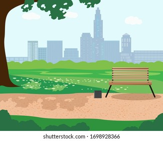 Illustration of a summer day in a city Park with trees a bench and the city in the background