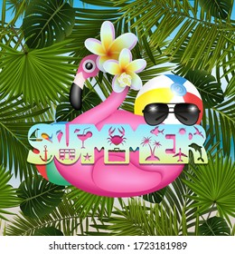Illustration of summer holiday background with inflatable pink flamingo, tropical plumeria flowers, summer symbol lettering, beach balls and sunglasses. Palm leaves pattern is seamless