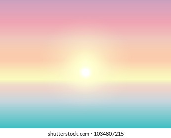 illustration of summer holiday concept background and pastel color.The sun in pastel sky with sea