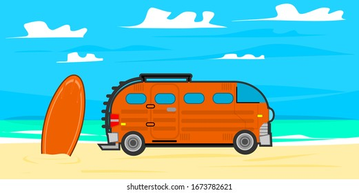 Illustration for summer, holidays and travel. A camping trip along the beach. Colorful vintage pictures.