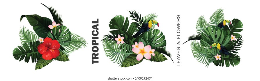 illustration of Summer sale 50% off with jungle palm Leaves tropical poster wallpaper for fun party invitation card  banner template