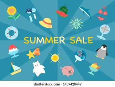 Illustration of summer sale. round shape decoration.
