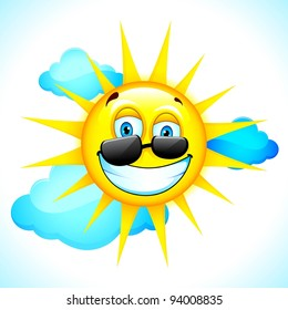 illustration of summer sun smiling beyond clouds