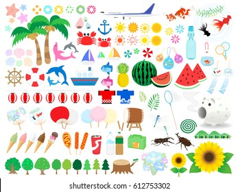 Illustration of summer vacation in Japan