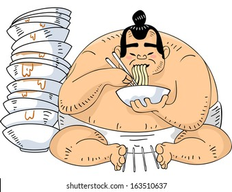 Illustration of a Sumo Wrestler Sitting Beside a Tall Pile of Ramen Bowls
