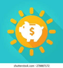 Illustration of a sun icon with a piggy bank