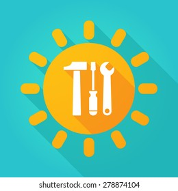 Illustration of a sun icon with a tool set