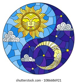 Illustration with sun and moon on sky background in the form of Yin Yang sign, circular image