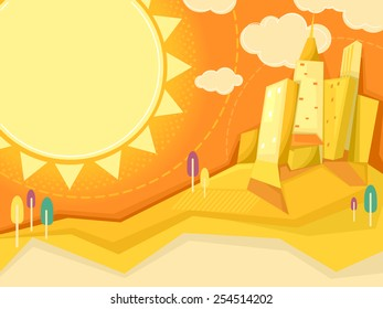 Illustration of the Sun Shining Brightly Over a City Filled With Giant Buildings