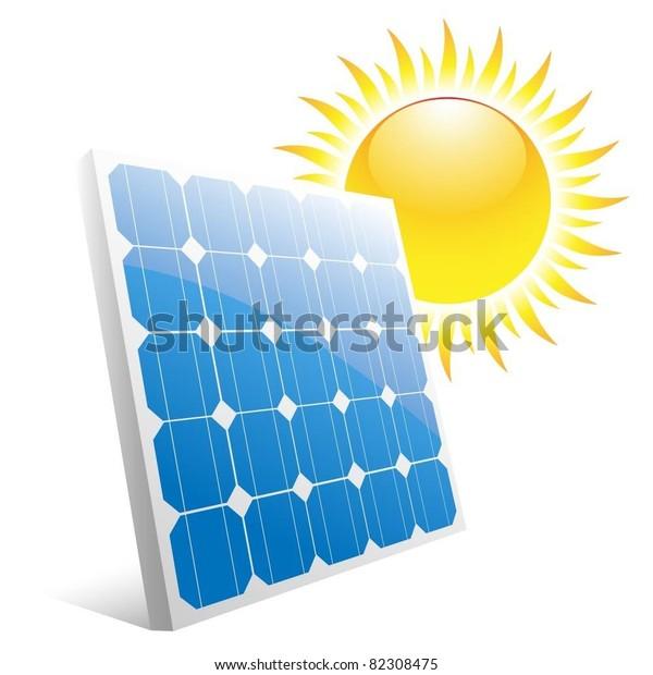 Illustration Sun Solar Panels Vector Stock Vector (Royalty