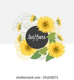illustration sunflower flower spring greeting card summer composition garden beautiful delicate