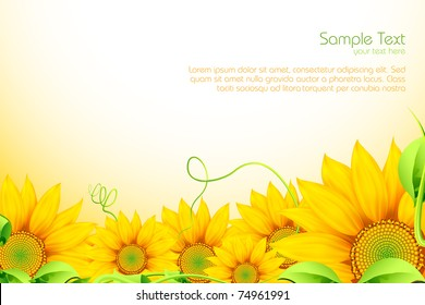 illustration of sunflowers on abstract background