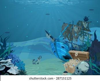 Illustration of sunken sailboat on seabed background