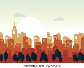 illustration sunrise and cityscape