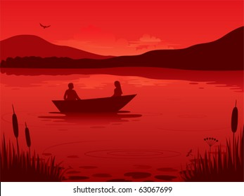 An illustration of a sunset on a lake with a boat silhouette.