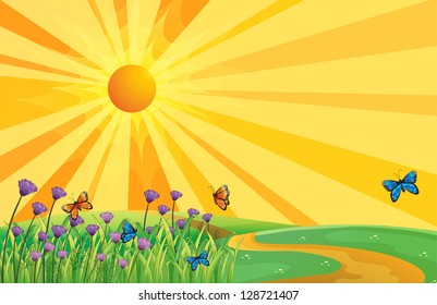 Illustration of a sunset view and the butterflies