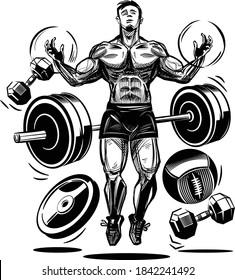 illustration of a super fit  man