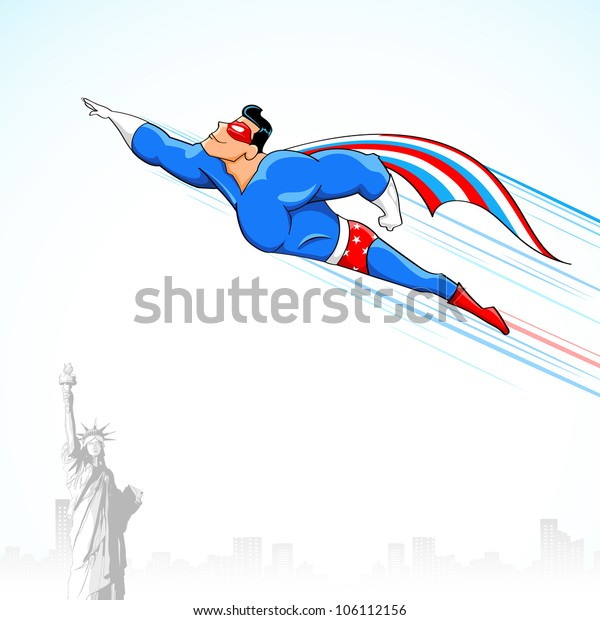 illustration of super hero in American flag costume flying above Statue of Liberty