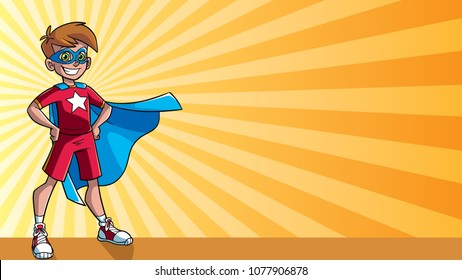 Illustration of super hero boy smiling happy while wearing blue cape against ray light background for copy space.