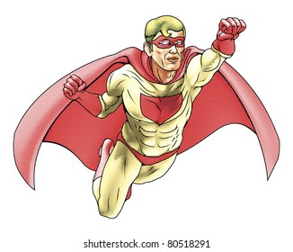 Illustration of  super hero dressed in red and yellow costume and cape flying. Has color haftone style for traditional comic book art look.