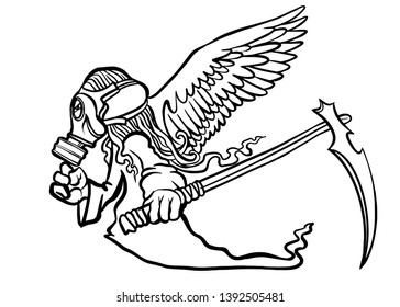 illustration of Super Hero Wearing a gas mask with wings. a crazy character on white background