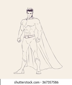 Illustration of super heroe in standing pose