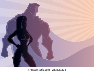 Illustration of superhero couple. No transparency used. Basic (linear) gradients used. A4 proportions.