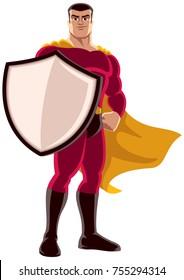 Illustration of superhero holding big shield on white background.