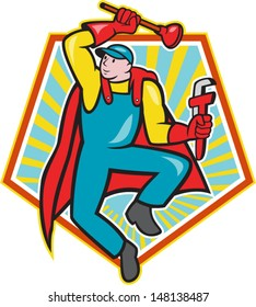 Illustration of a superhero super plumber jumping with cape holding monkey wrench and plunger done in cartoon style with pentagon shape in background.