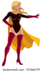 Illustration of superheroine using her super power and directing it with her hand.