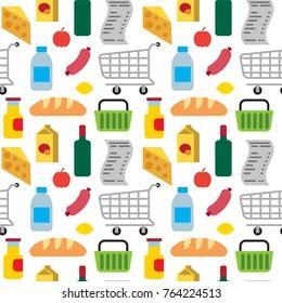 illustration of supermarket food seamless pattern