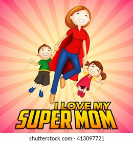 illustration of Supermom with kids in Happy Mother's Day card