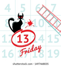 Illustration of superstition on Friday the 13th with black cat in calendar background