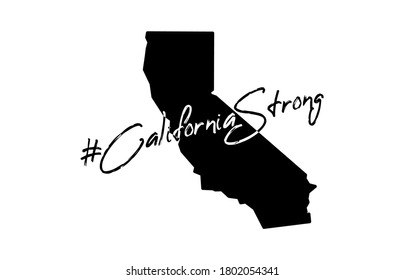 Illustration in support of the southern California after a wildfires. Map of California state, flame and text California