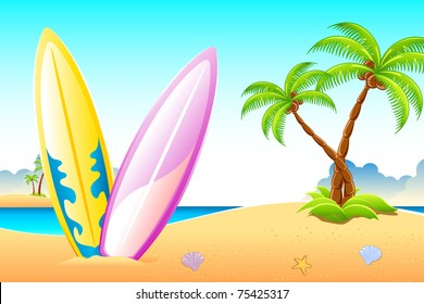 illustration of surf boards on sea beach with palm trees
