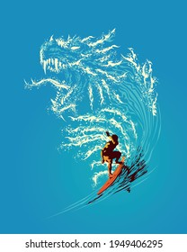 Illustration of a surfer on the dragon waves