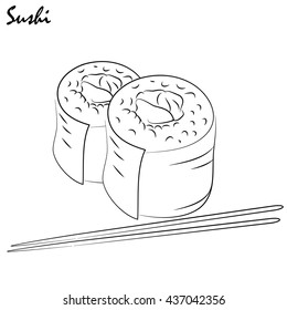 Illustration sushi. It can be used in the decoration of the menu, booklets, like drawing on the door cafes or restaurants