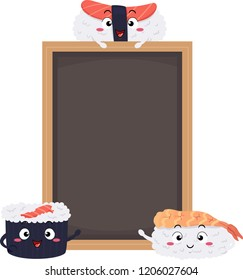 Illustration of Sushi Mascots with a Blank Black Board