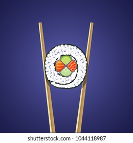 Illustration of sushi roll holding between two chopsticks on the dark background. Flat and textures.