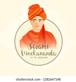 illustration of swami vivekananda jayanti background.