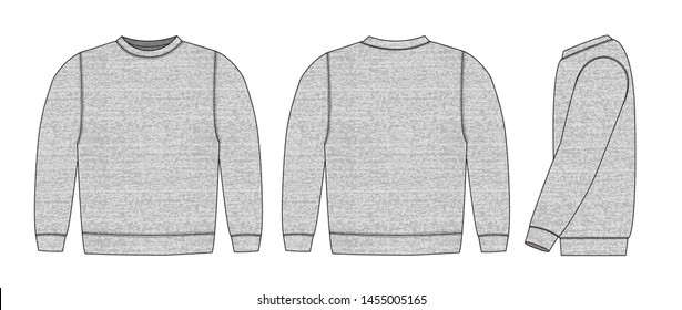 Illustration of sweat shirt ( heather gray )  / front,back,side