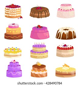Illustration of sweet baked vector isolated cakes set. Strawberry icing pie for holiday, cupcake, brown chocolate cake gourmet, colorful birthday celebration cherry brownie bakery with fruit