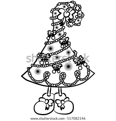 illustration with sweet christmas tree with legs character for christmas and new year sketch