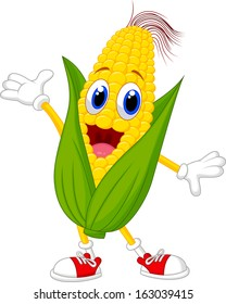 Illustration of a Sweet Corn Character Presenting