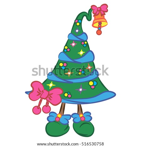illustration with sweet green christmas tree with legs and pink bow character for christmas and