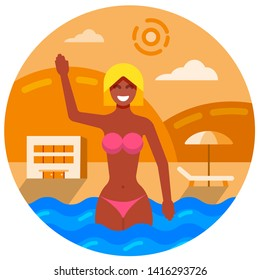 illustration of swimmng girl on the hotel summer beach